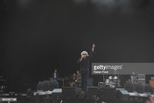 Bob Geldof Simon Crowe and Pete Briquette of The Boomtown Rats perform at Marlay Park on July 8 2018 in Dublin Ireland