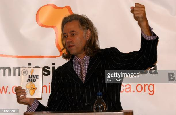 Bob Geldof speaks at the Harold Pratt House for Live Aid DVD and Band Aid 20 to help famine in Africa New York City