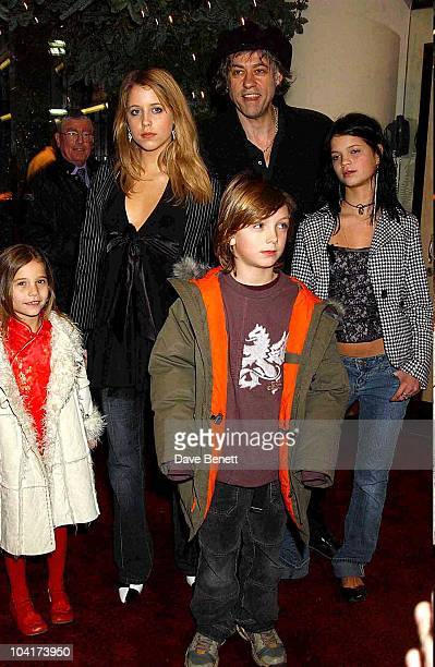Bob Geldof With Daughters Peaches Pixie And Tiger Lilly And God Son Lewis Peter Pan The Movie Premiere At The Empire Leicester Square London