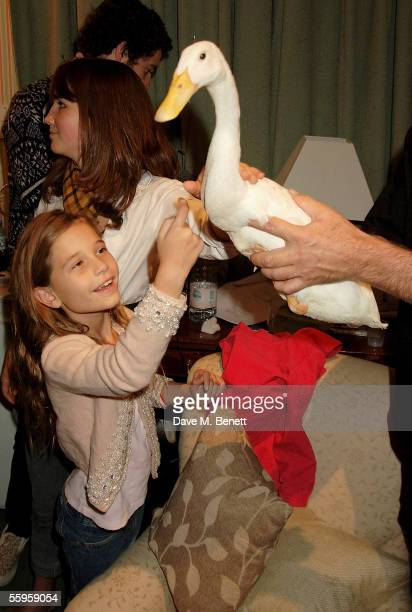 Bob Geldof's daughter Tiger Lilly plays with a duck at the press performance for Ducktastic at the Albery Theatre on October 19 2005 in London...