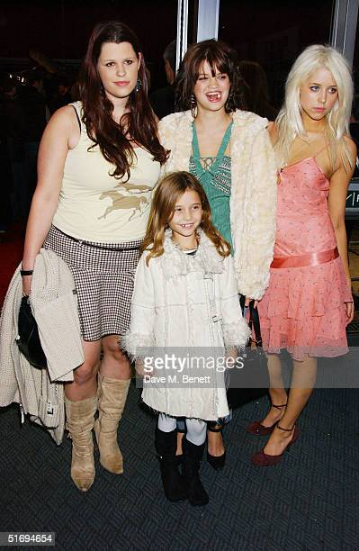Bob Geldof's daughters Fifi Trixiebelle Pixie and Peaches Geldof with Tiger Lily Hutchence arrive at the Premiere screening of the new fourdisc DVD...