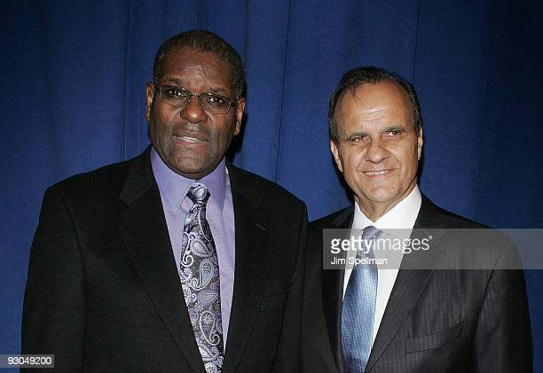 Bob Gibson and Joe Torre attend the 7th annual Safe at Home gala at Pier Sixty at Chelsea Piers on November 13 2009 in New York City