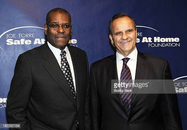 Bob Gibson and Joe Torre attends the Joe Torre Safe at Home Foundation 9th Annual gala at Pier 60 on November 10 2011 in New York City