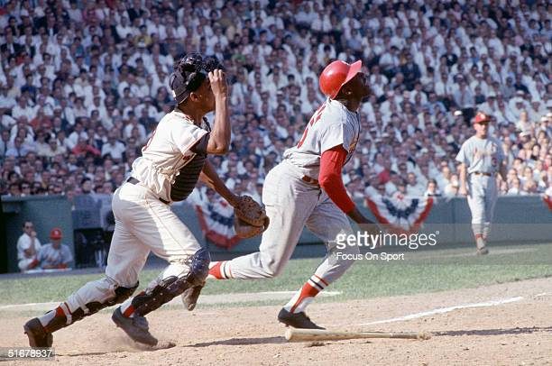 Bob Gibson of the Red Sox runs after batting against the St Louis Cardinals in the 1967 World Series at Fenway Park in Boston Massachusetts