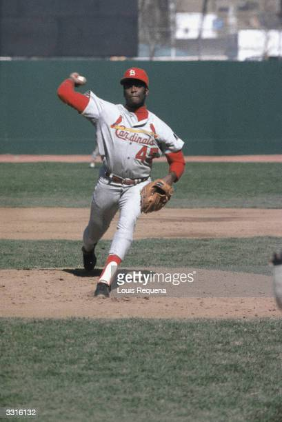 Bob Gibson of the St Louis Cardinals pitches during the 1968 season