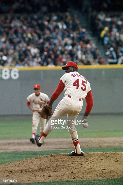 Bob Gibson of the St Louis Carrdinals winds up his pictch during the 1967 World Series against the Boston Red Sox at Old Bucsh Stadium in St Louis...