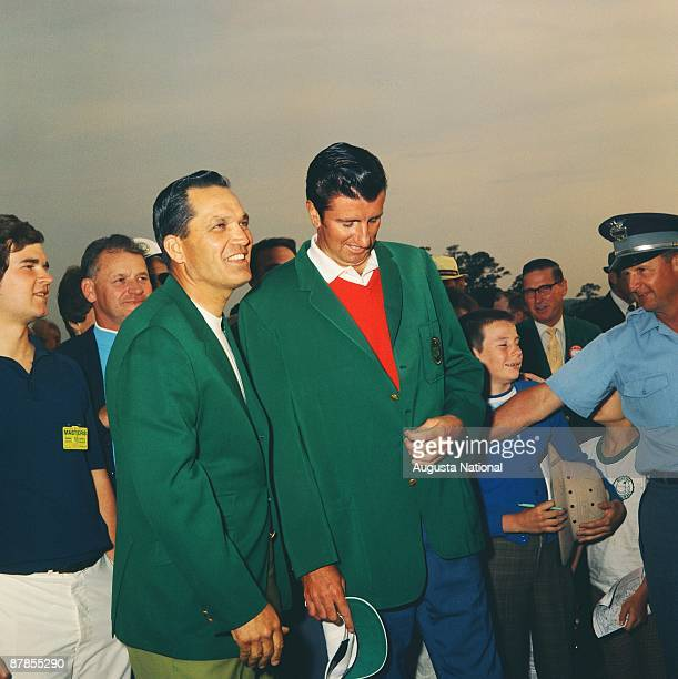 Bob Goalby poses with Masters Champion George Archer at the Presentation Ceremony during the 1969 Masters Tournament at Augusta National Golf Club on...