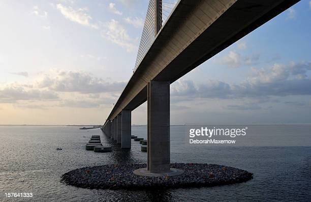 bob graham sunshine skyway bridge tampa bay florida at dusk - sunshine skyway bridge stock photos and pictures