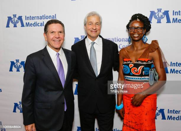 Bob Graziano Jamie Dimon and honoree Marylyne Malomba attend the International Medical Corps Annual Awards Celebration on October 30 2018 in Beverly...