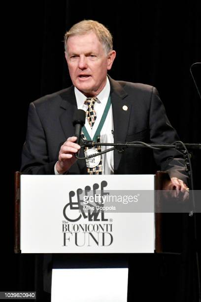 Bob Griese speaks on stage during the 33rd Annual Great Sports Legends Dinner which raised millions of dollars for the Buoniconti Fund to Cure...