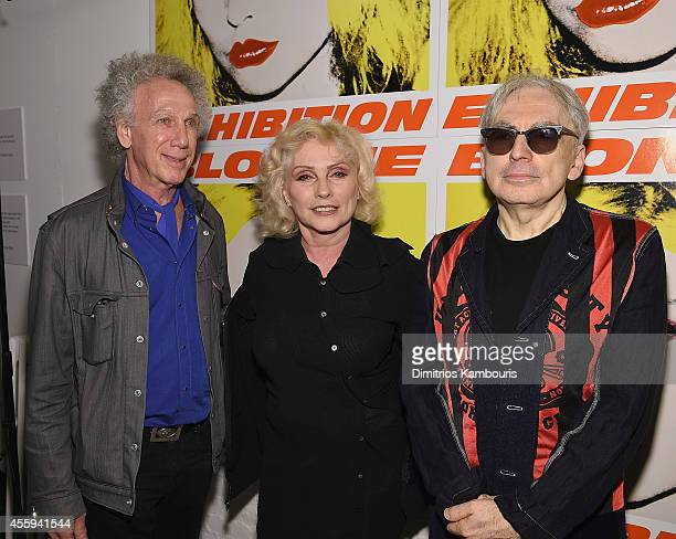 Bob Gruen, Debbie Harry and Chris Stein attend The 40th Anniversary Of Blondie exhibition at Chelsea Hotel Storefront Gallery on September 22, 2014...