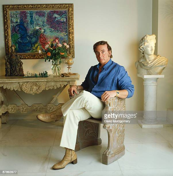 Bob Guccione founder and publisher of 'Penthouse' magazine December 1993 On the wall behind him is a painting by Marc Chagall