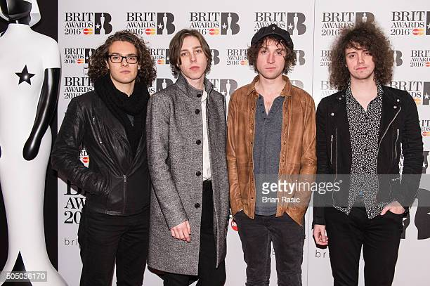 ONLY] Bob Hall Ryan Van McCann Johnny Bond and Benji Blakeway of Catfish and the Bottlemen attend the nominations launch for The Brit Awards 2016 at...