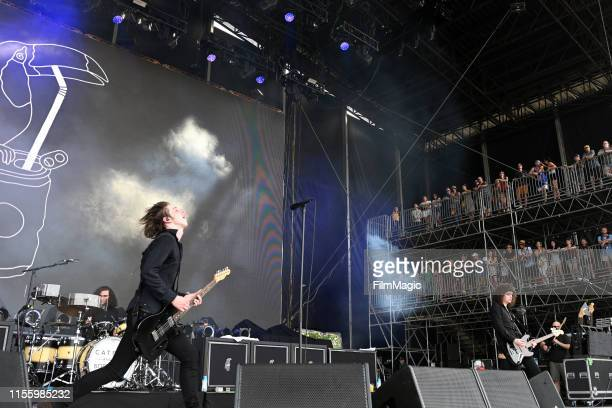 Bob Hall, Van McCann, and Benji Blakeway of Catfish And The Bottlemen performs on What Stage during the 2019 Bonnaroo Arts And Music Festival on June...