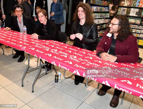 Bob Hall, Van McCann, Benji Blakeway and Johnny Bond of Catfish And The Bottlemen during an instore event to celebrate the release of their new album...