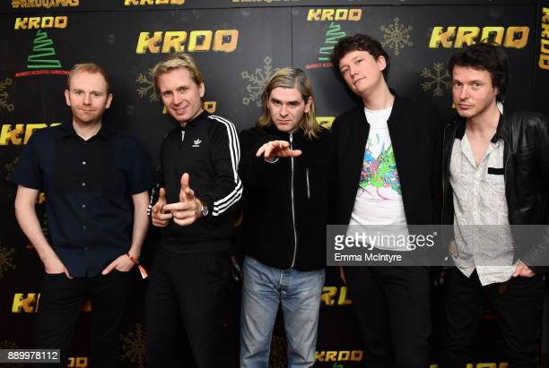 Bob Hardy Alex Kapranos Paul Thomson Dino Bardot and Julian Corrie of Franz Ferdinand pose backstage during KROQ Almost Acoustic Christmas 2017 at...