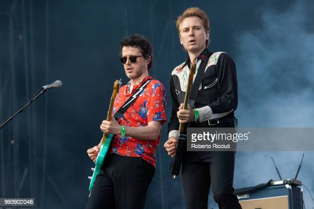 Bob Hardy and Alex Kapranos of Franz Ferdinand perform on stage during TRNSMT Festival Day 5 at Glasgow Green on July 8 2018 in Glasgow Scotland