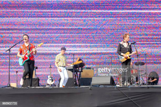 Bob Hardy Julian Corrie and Alex Kapranos of Franz Ferdinand perform on stage during TRNSMT Festival Day 5 at Glasgow Green on July 8 2018 in Glasgow...