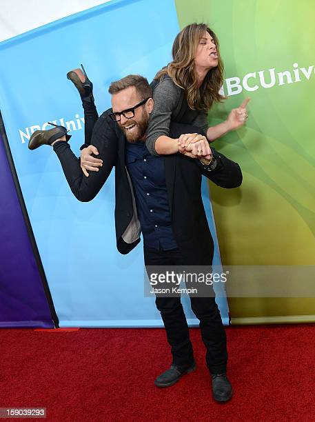 Bob Harper and Jillian Michaels attend NBCUniversal's '2013 Winter TCA Tour' Day 1 at Langham Hotel on January 6 2013 in Pasadena California
