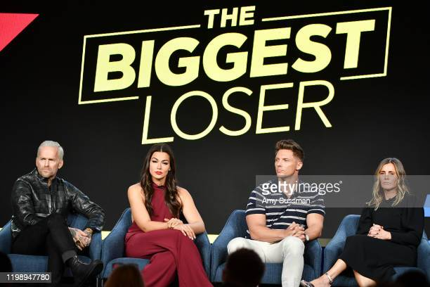 Bob Harper Erica Lugo Steve Cook and Heather Olander of The Biggest Loser speak during the NBCUniversal segment of the 2020 Winter TCA Press Tour at...