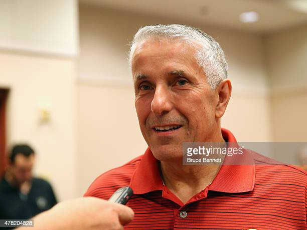 Bob Hartley of the Calgary Flames attends the 2015 NHL Awards nominee media availability at MGM Grand Garden Arena on June 23 2015 in Las Vegas Nevada