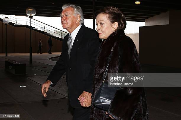 Bob Hawke and Rosyln Hawke attend a state memorial service for the late Hazel Hawke at the Sydney Opera House on June 25 2013 in Sydney Australia...