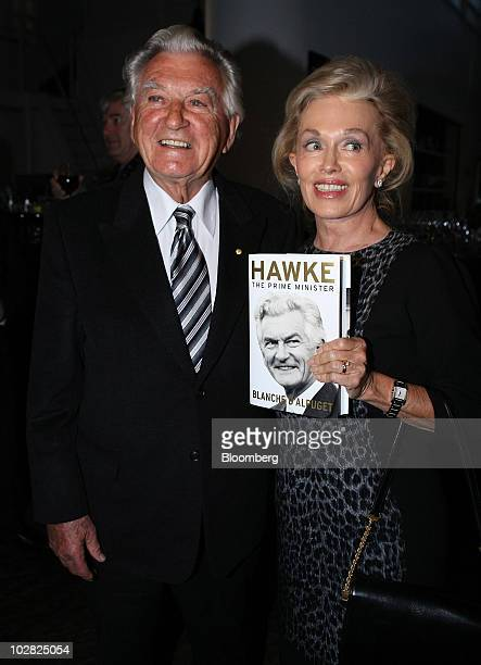 Bob Hawke former prime minister of Australia attends the launch of the book 'Hawke The Prime Minister' with his wife Blanche d'Alpuget the book's...