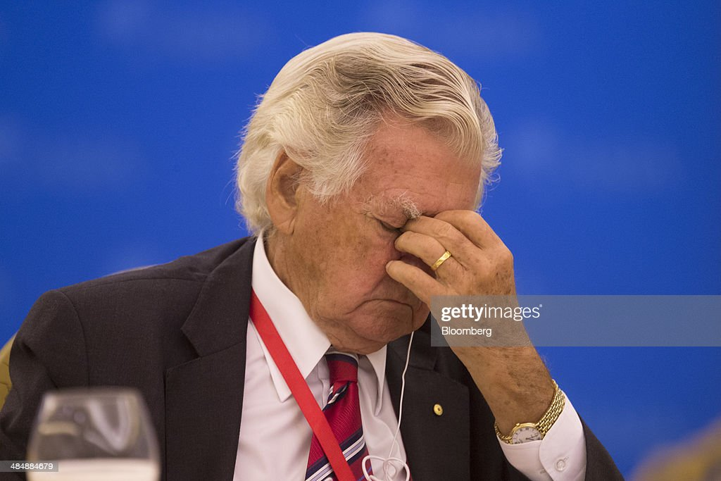 Bob Hawke, former prime minister of Australia, reacts during a session at the Boao Forum for Asia in Boao, Hainan, China, on Thursday, April 10, 2014. The Boao Forum for Asia takes place from April 8-11. Photographer: Brent Lewin/Bloomberg via Getty Images