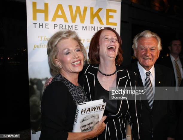 Bob Hawke former prime minister of Australia right attends the launch of the book Hawke The Prime Minister with his wife Blanche d'Alpuget the book's...