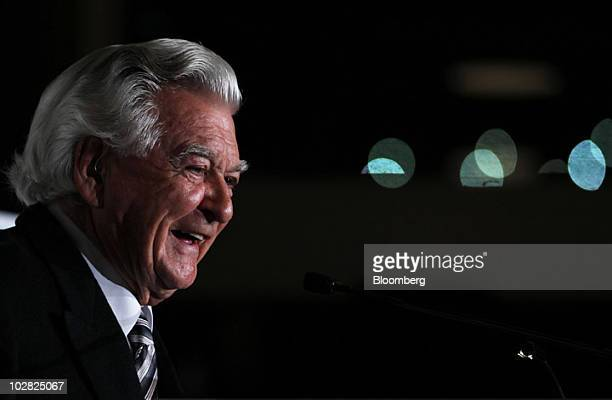 Bob Hawke former prime minister of Australia speaks at the launch of the book 'Hawke The Prime Minister' by Blanche d'Alpuget in Sydney Australia on...