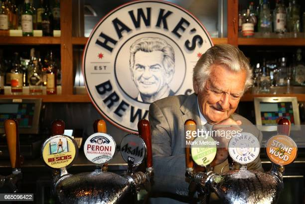 Bob Hawke pours Hawke's Lager at the launch of Hawke's Lager at The Clock Hotel on April 6 2017 in Sydney Australia The former Australian Prime...