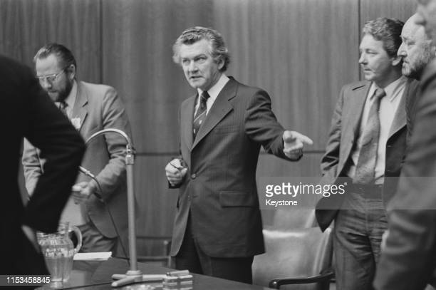 Bob Hawke President of the Australian Council of Trade Unions during a TV broadcast to the nation on the eve of a oneday national strike over changes...