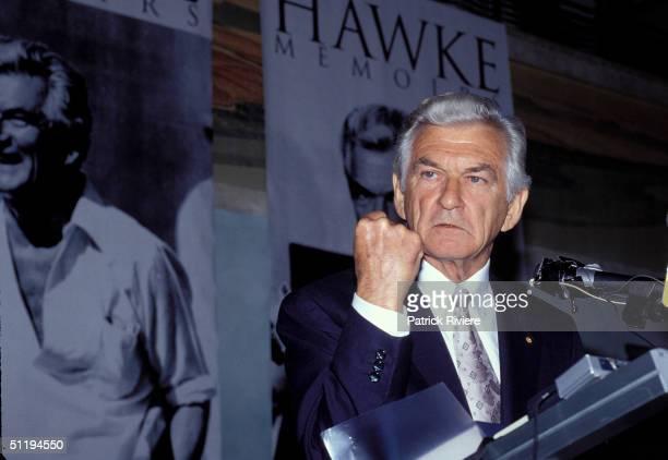 Bob Hawke Prime Minister of Australia at Hawke memoirs launch in 1994 in Sydney Australia