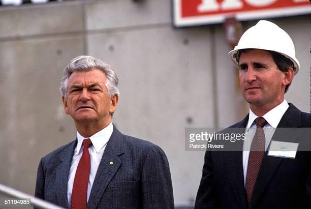 Bob Hawke Prime Minister of Australia launches the Maritime Museum in 1987 in Sydney Australia