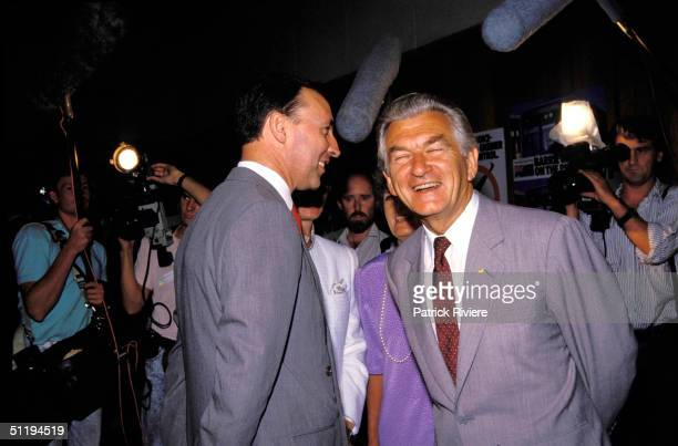 Bob Hawke Prime Minister of Australia with Paul Keating at NSW State Election in 1988 in Australia