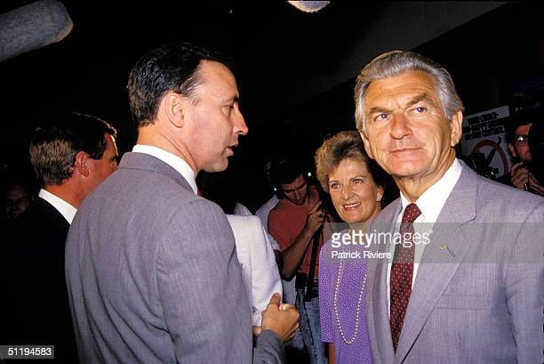 Bob Hawke Prime Minister of Australia with wife Hazel and Paul Keating at NSW Labor Campaign 1988 in Sydney Australia