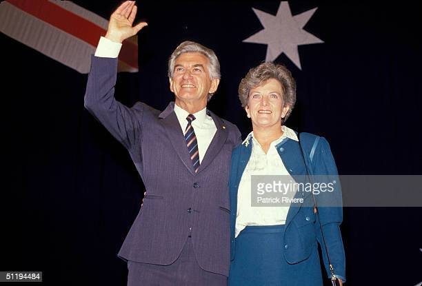 Bob Hawke Prime Minister of Australia with wife Hazel during Labor Campaign in 1987 in Australia