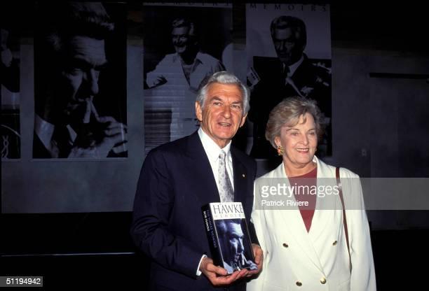 Bob Hawke Prime Minister of Australia with wife Hazel Hawke at Hawke memoirs launch in 1994 in Sydney Australia