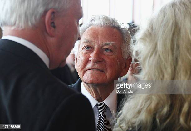 Bob Hawke talks to Paul Keating and Annita Keating during a state memorial service for the late Hazel Hawke exwife of former Australian Prime...