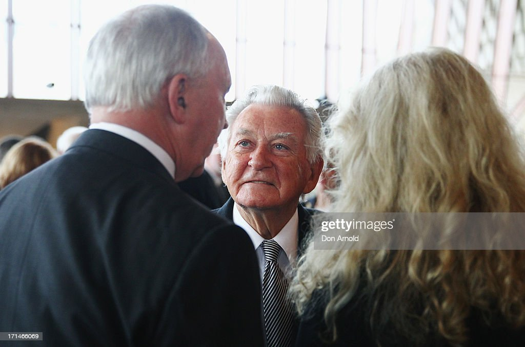 Bob Hawke (C) talks with Paul Keating and Annita Keating as they attend a state memorial service for the late Hazel Hawke, ex-wife of former Australian Prime Minister, Bob Hawke at the Sydney Opera House on June 25, 2013 in Sydney, Australia.