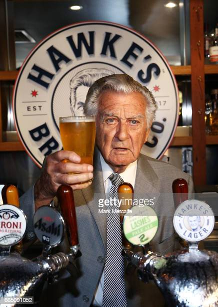 Bob Hawke toasts Hawke's Lager at the launch of Hawke's Lager at The Clock Hotel on April 6 2017 in Sydney Australia The former Australian Prime...
