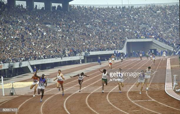 Bob Hayes winning the 4 X 100 meters relay for the US team at Summer Olympics