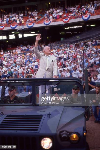 Bob Hope arrives at Anahiem Stadium circa 1986 on Armed Forces Day in front of a California Angels crowd in Anaheim California