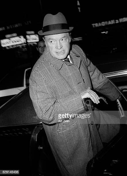 Bob Hope getting into a limousine; circa 1970; New York.