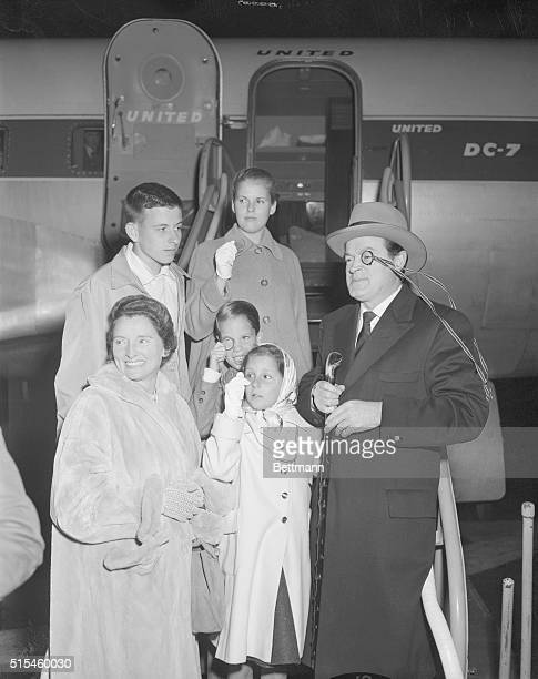 Bob Hope is greeted by his wife Dolores and four children Linda Tony and Nora and Kelly at the International Airport as the comedian arrived from his...