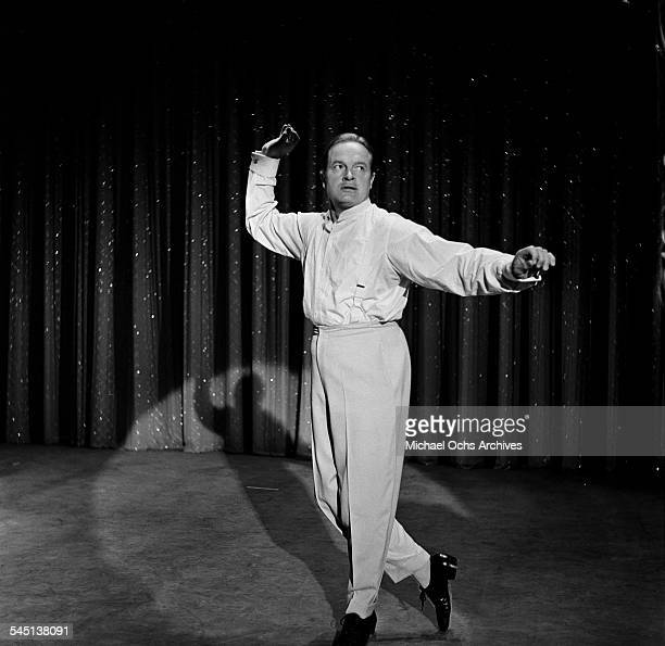 """Bob Hope performs """"Sand Dance"""" routine during the 7th Anniversary Show of the """"Toast of the Town"""" show hosted by Ed Sullivan at the Maxine Elliott..."""