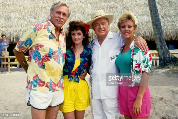 Bob Hope with Howard Keel Morgan Brittany and Susan Akin whilst filming the Bob Hope TV special called ' Bob Hopes Tropical Comedy from Tahiti also...