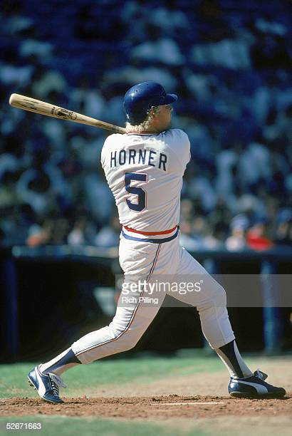 Bob Horner of the Atlanta Braves swings at bat during a game in April of the1983 season Bob Horner played for the Atlanta Braves from 19781986