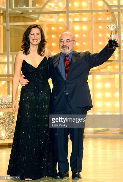 Bob Hoskins receives the Donostia Award presented by Aitana SanchezGijon during the 50th San Sebastian Film Festival