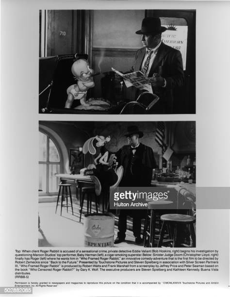 Bob Hoskins talks with Baby Herman in a scene Christopher Lloyd grabs Roger Rabbit in a scene of the movie 'Who Framed Roger Rabbit' circa 1988